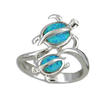 Sterling Silver Hawaiian Double Honu Blue Opal Ring