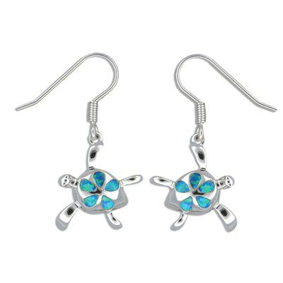 Sterling Silver Hawaiian Honu Plumeria Blue Opal Earrings with Fish Wires