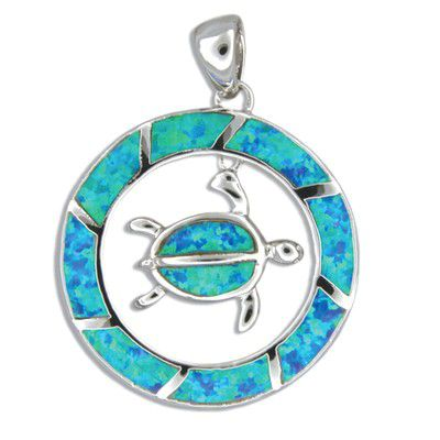 Sterling Silver Hawaiian Honu in the Circle Blue Opal Pendant