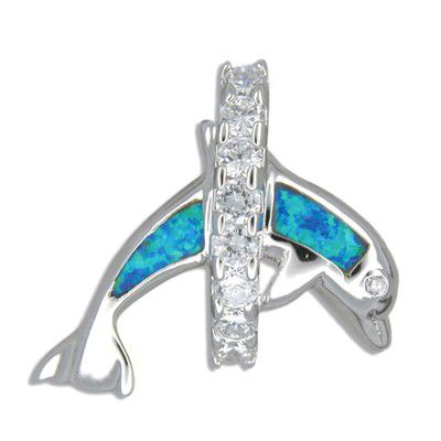 Sterling Silver Jumping Blue Opal Dolphin and Hawaiian CZ Leis Pendant