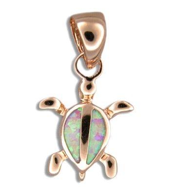 Sterling Silver Hawaiian Honu Pink Opal Pendant (L)