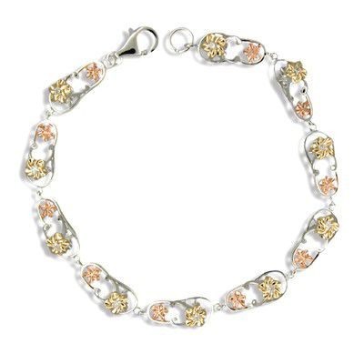 Sterling Silver Hawaiian Tri-Color CZ Slipper Bracelet
