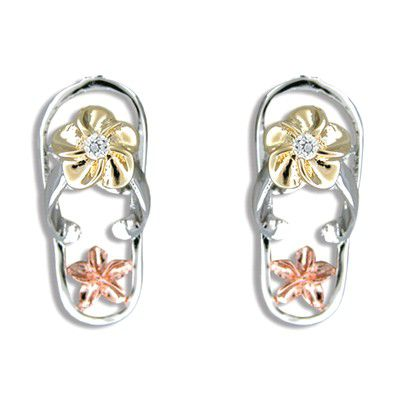 Sterling Silver Hawaiian Tri-Color CZ Slipper Pierced Earrings