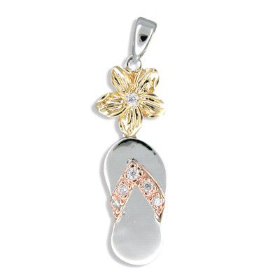 Sterling Silver Hawaiian Tri-color Plumeria and Slipper Pendant