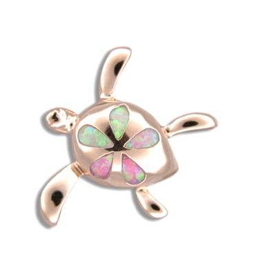 Sterling Silver Hawaiian Honu Plumeria Pink Opal Pendant