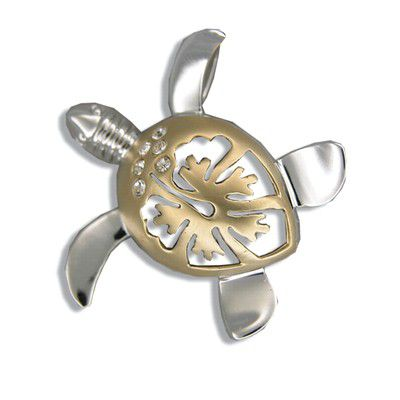 Sterling Silver Hawaiian Two Tone Hibiscus Honu Pendant (M)