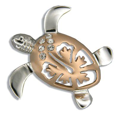 Sterling Silver Rose Two Tone Hibiscus Honu Pendant (L)