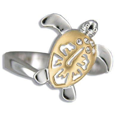 Sterling Silver Hawaiian Two Tone Hibiscus Honu Ring