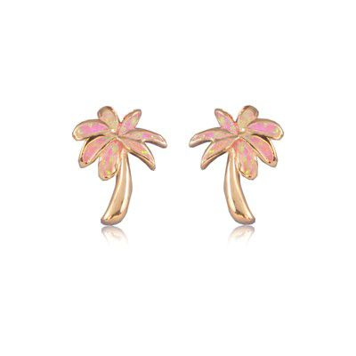 Sterling Silver Hawaiian Pink Opal Palm Tree Pierced Earrings