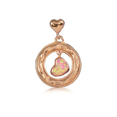 Sterling Silver Hawaiian Heart in Circle Pink Opal Pendant