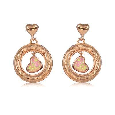 Sterling Silver Hawaiian Heart in Circle Pink Opal Earrings