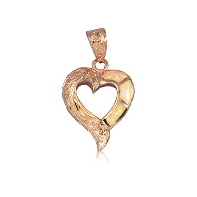 Sterling Silver Hawaiian Cut-Out Heart Pink Opal Pendant