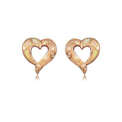 Sterling Silver Hawaiian Cut-Out Heart Pink Opal Pierced Earrings