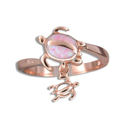 Sterling Silver Hawaiian Mother and Baby Honu Pink Opal Ring