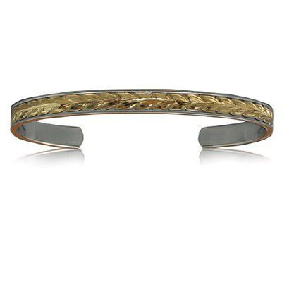 Sterling Silver Hawaiian 14K Yellow Two Tone Maile Cuff 8mm Bangle