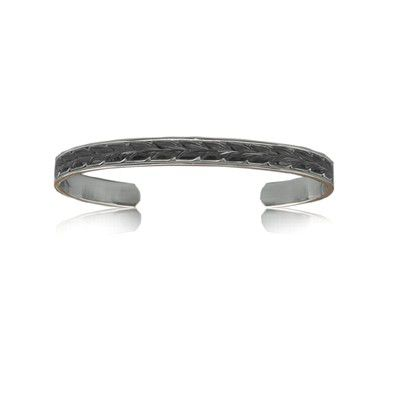 Sterling Silver Hawaiian Black Rhodium Two Tone 6mm Maile Cuff Bangle