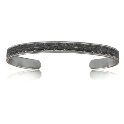 Sterling Silver Hawaiian Black Rhodium Two Tone 8mm Maile Cuff Bangle