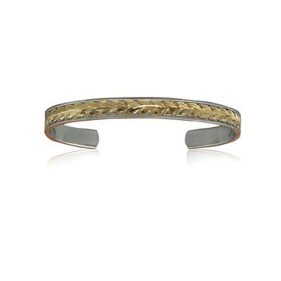 Sterling Silver Hawaiian 14K Yellow Two Tone Maile Cuff 6mm Bangle