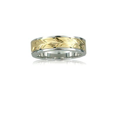 Sterling Silver Hawaiian 14K Yellow Two Tone Maile 6mm Ring Band