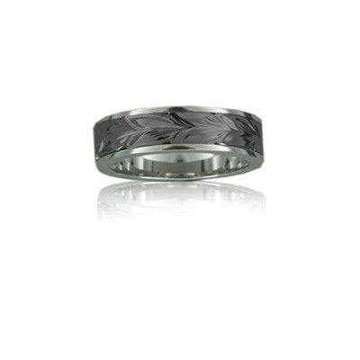 Sterling Silver Hawaiian Black Rhodium Two Tone Maile 6mm Ring Band