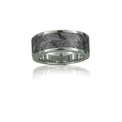 Sterling Silver Hawaiian Black Rhodium Two Tone Maile 8mm Ring Band