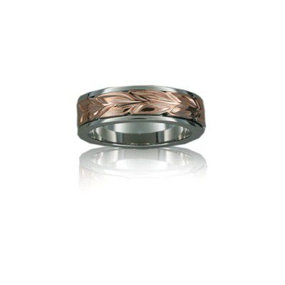 Sterling Silver Hawaiian 14K Rose Two Tone Maile 6mm Ring Band