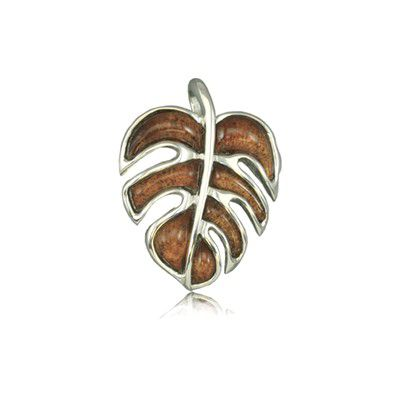 Sterling Silver Hawaiian Koa Wood Monstera Leaf Pendant