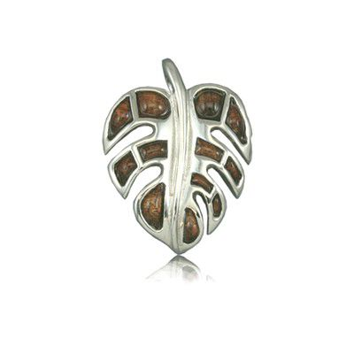 Sterling Silver Hawaiian Koa Wood Fancy Monstera Leaf Pendant