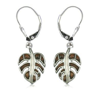 Sterling Silver Hawaiian Koa Wood Fancy Monstera Leaf Lever Earrings