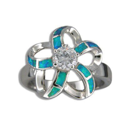 Sterling Silver Hawaiian Cut-in Blue Opal Plumeria Ring with CZ