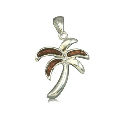 Sterling Silver Hawaiian Koa Wood Palm Tree Pendant