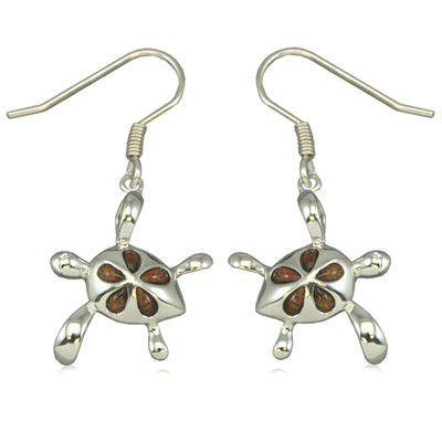 Sterling Silver Hawaiian Koa Wood HONU Plumeria Fish Wire Earrings