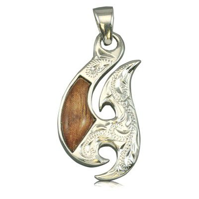 Sterling Silver Hawaiian Koa Wood Fancy Two Side Engraved Fish Hook Pendant