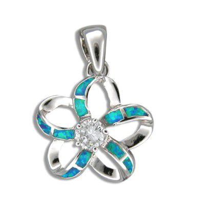 Sterling Silver Hawaiian Cut-in Blue Opal Plumeria Pendant (S) with CZ