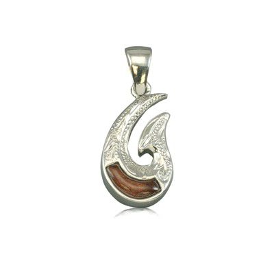 Sterling Silver Hawaiian Koa Wood Two Side Engraved Fish Hook Pendant