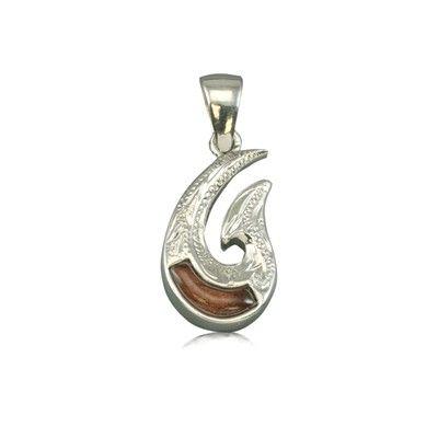 Sterling Silver Hawaiian Koa Wood Two Side Engraved Fish Hook Pendant