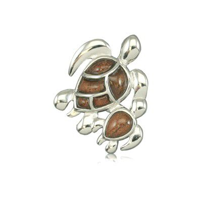 Sterling Silver Hawaiian Koa Wood Fancy Mother and Baby HONU Pendant