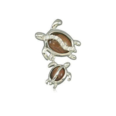 Sterling Silver Hawaiian Koa Wood Mother and Baby HONU Pendant