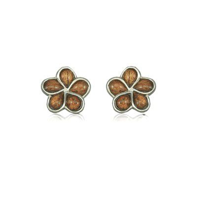 Sterling Silver Hawaiian Koa Wood Plumeria Pierced Earrings