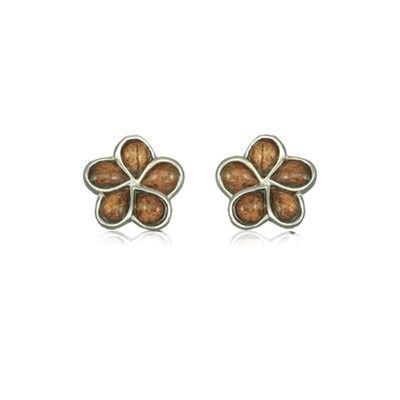Sterling Silver Hawaiian Koa Wood Plumeria Pierced Earrings