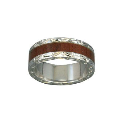 Sterling Silver Hawaiian Koa Wood Men's Eternity 7mm Ring