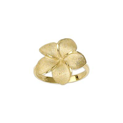14kt Yellow Gold Hawaiian 18mm Large Plumeria Ring