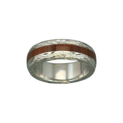 Sterling Silver Hawaiian Koa Wood  Lady's Eternity 6mm Ring