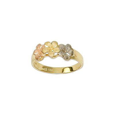 14kt Tri-Color Gold Triple 6mm Hawaiian Plumeria Flowers Ring