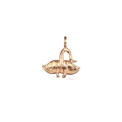 Sterling Silver Hawaiian Rose Gold Coated Devil Ray Fish Mini Charm