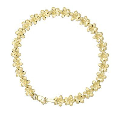 14kt Yellow Gold 7mm Plumeria Leis Bracelet