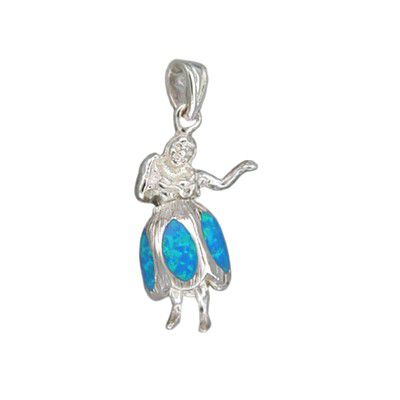 Sterling Silver Hawaiian Blue Opal Hula Girl Pendant (S)