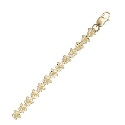 14KT Yellow Gold Hawaiian 6mm Plumeria Bracelet