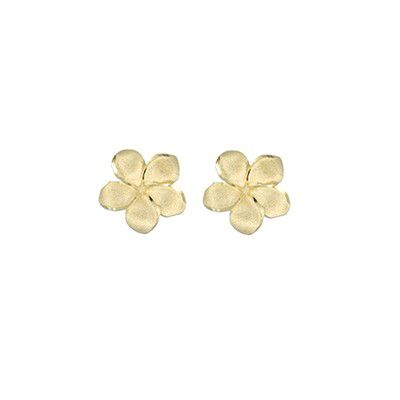 14kt Yellow Gold 10mm Plumeria Pierced Earrings