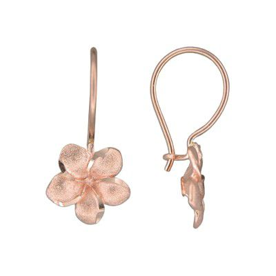 14kt Rose Gold Hawaiian Plumeria Wire Level Earrings